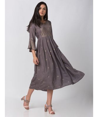 ETHNICITY VISCOSE SHANTOON GATHERED MAUVE KURTA