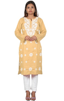 Lavangi Women's Lucknow Chikan Embroidery Work Khadi Cotton Kurti (Fawn)