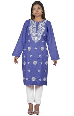 Lavangi Women's Lucknow Chikan Embroidery Work Khadi Cotton Kurti (Dark Blue)
