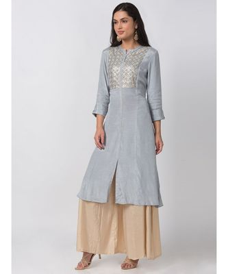 ETHNICITY COTTON SILK A LINE GREY KURTA