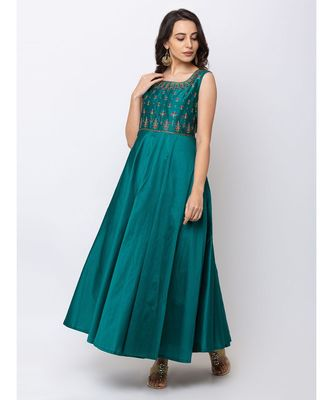 ETHNICITY BLENDED MAXI GREEN GOWN