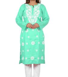Lavangi Women's Lucknow Chikan Embroidery Work Khadi Cotton Kurti (Sea Green)