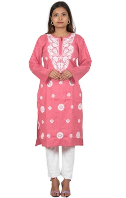 Lavangi Women's Lucknow Chikan Embroidery Work Khadi Cotton Kurti (Gajiri)