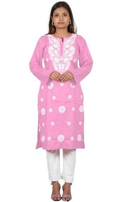 Lavangi Women's Lucknow Chikan Embroidery Work Khadi Cotton Kurti (Pink)