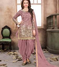 Dark-pink embroidered satin salwar