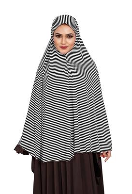 JSDC Women Daily Wear Sleeveless Strips Printed Stitched Organic Jersey Abaya Hijab