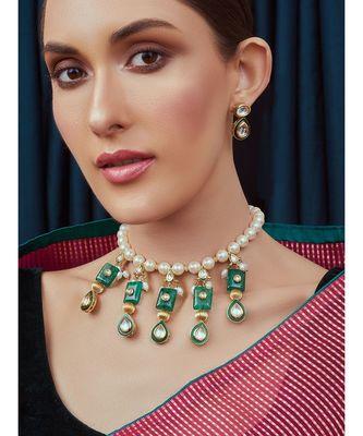 White Green Gold Tone Kundan Bridal Necklace Set
