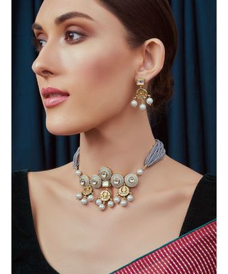 Grey Gold Tone Meenkari Kundan Necklace Set