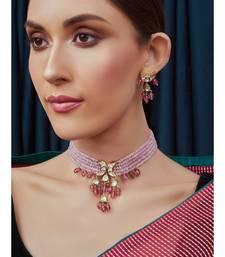 Pink Gold Tone Beaded Kundan Necklace Set
