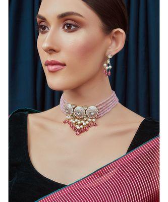 Pink White Gold Tone Meenkari Necklace Set