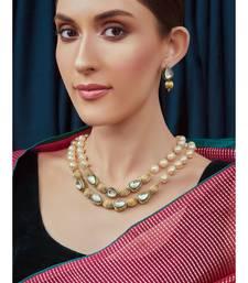 Meenakari Gold Tone Beaded Pearl Necklace Set