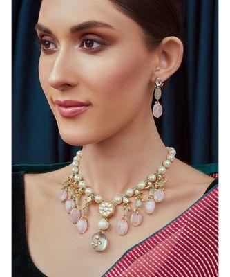 Pink Blue and White Kundan Necklace Set