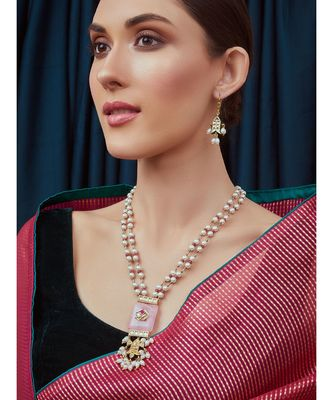 Pink White Gold Tone Pearl Necklace Set