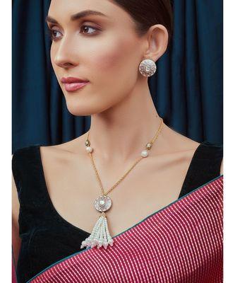 White Pink Gold Tone Kundan Necklace Set