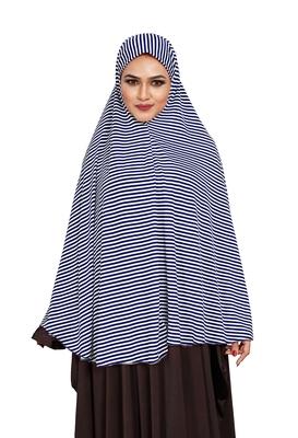 JSDC Women Sleeveless Strips Printed Stitched Organic Jersey Abaya Hijab