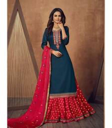 semi-stitched Pure Silk Ethnic Gowns