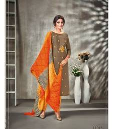 Off Brown Embroidery Modal silk unstitch straight fit churidar suits salwar suits