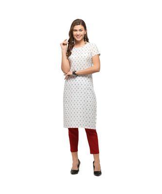 white Rayon Short Sleeves Printed Womens kurti