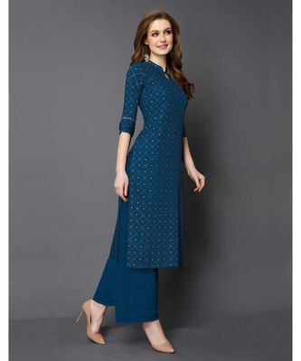 Blue Rayon 3/4 Sleeves Checked Womens kurti