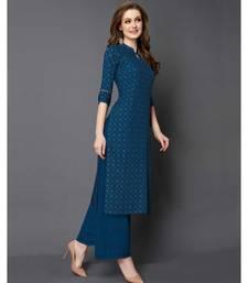 Blue Rayon 3/4 Sleeves Checked Womens kurti