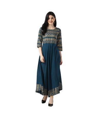 Blue Rayon 3/4 Sleeves Printed Womens kurti