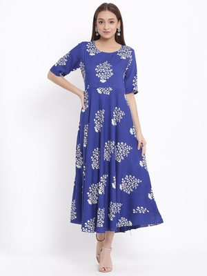 DAAVI Womens Rayon Floral Print Flared Long Gown (Blue)