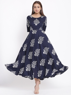 DAAVI Womens Rayon Floral Print Flared Long Gown (Navy Blue)