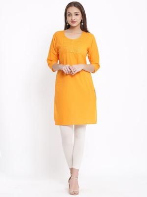 DAAVI Womens Cotton Embroidered Straight Kurta (Orange)