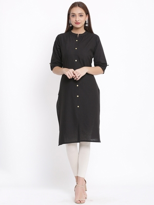 DAAVI Womens Cotton Solid Straight Kurta (Black)