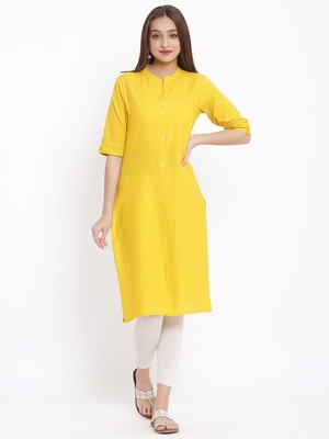 DAAVI Womens Cotton Solid Straight Kurta (Mustard)