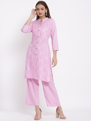 DAAVI Womens Rayon Embroidered and Printed Straight Kurta Pant Set (Pink)
