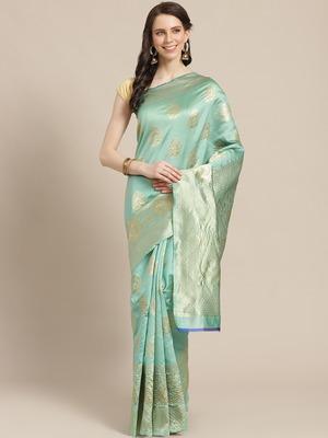 Shaily Women Green Silk Blend Woven Zari Saree