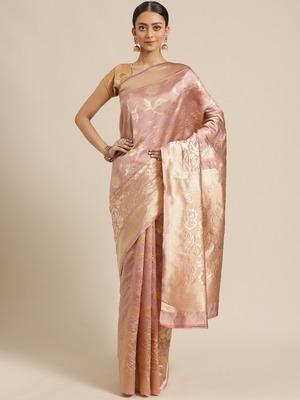 Shaily Women Lavender Silk Blend Woven Zari Saree