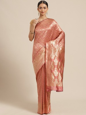 Shaily Women Peach Silk Blend Woven Zari Saree