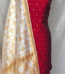 Maroon Colored Casual Embroidered Cotton Dress Material