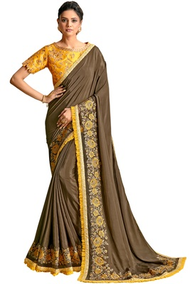 Brown embroidered crepe saree with blouse