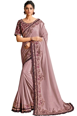 Purple embroidered crepe saree with blouse