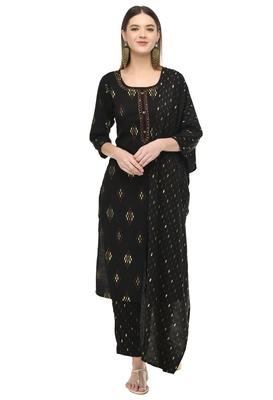 women gold printed kurta & pant with dupatta set(Black)