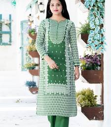 Green floral print rayon salwar