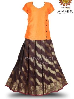 Shivangi Floral stripes Pavadai Set !!! – AJ49BR
