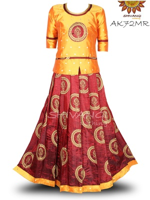 Shivangi Banarasi Silk Embroidery Pavadai Set/Lehenga !!! -AK72MR