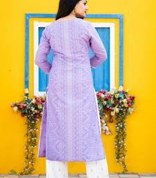 Purple floral print cotton salwar