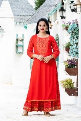Red floral print rayon salwar