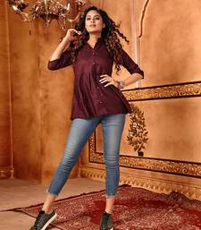 Maroon plain cotton party-tops