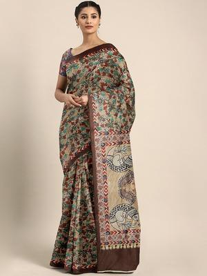 Shaily Women's Beige & Multi Silk Blend Printed Saree