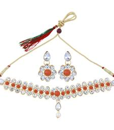 SILVER SHINE Exclusive Orange color Choker Set For Girls And Women