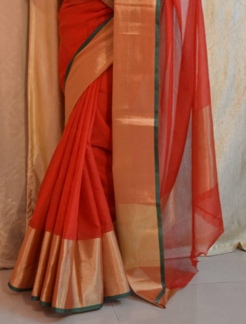 311fd21372ac13 red plain art silk saree with blouse - Saree Club - 480682