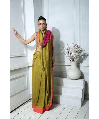 Olive Khadi Cotton saree With Magenta Border And Blouse