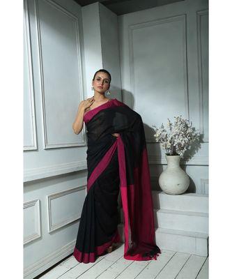 Navy Blue khadi cotton saree With Blouse