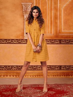 Yellow woven cotton cotton-kurtis